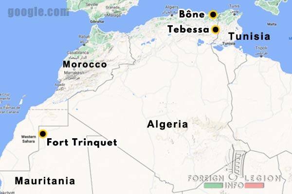 Algeria - 1957-1962 - 4e REI - 4 REI - 4th REI - 4th Foreign Infantry Regiment - Foreign Legion - implantations - map