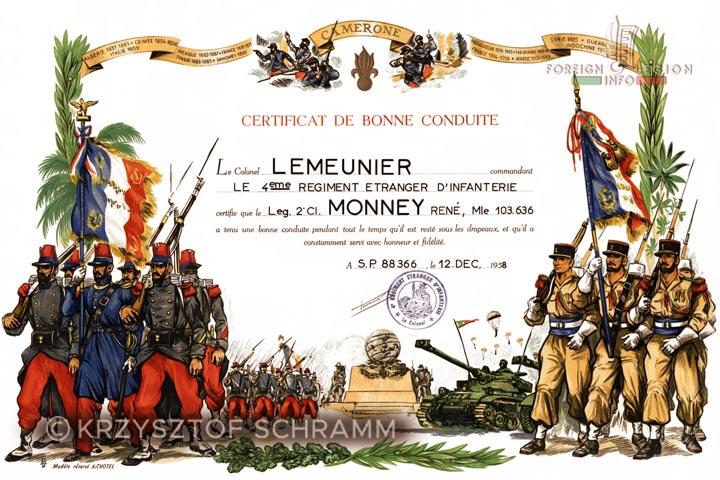 Certificat de bonne conduite - Colonel Lemeunier - 4e REI - 4 REI - 4th REI - Foreign Legion - Algeria - 1958