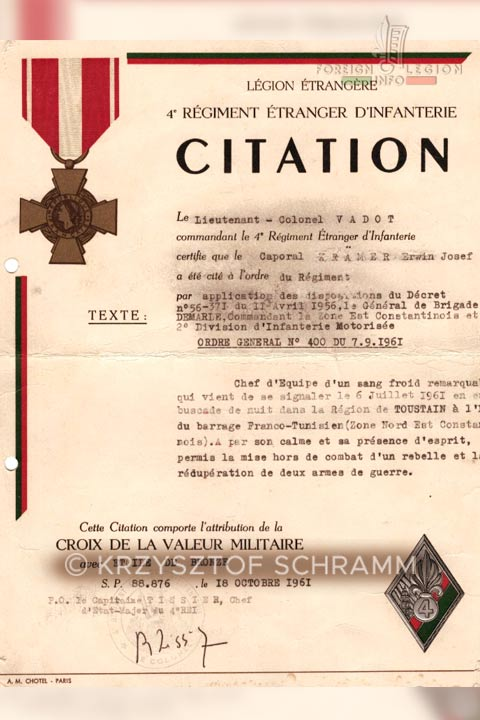 Citation - 4eme REI - 4 REI - Legion Etrangere - Algérie - 1961
