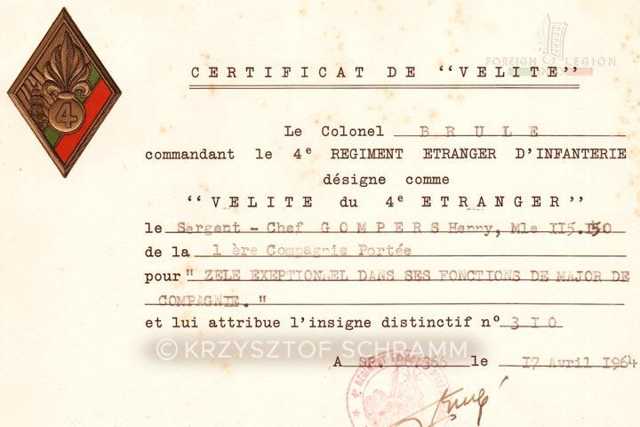 Certificate VELITE - 4e REI - 4 REI - 4th REI - 4th Foreign Infantry Regiment - Foreign Legion - Algeria - 1964