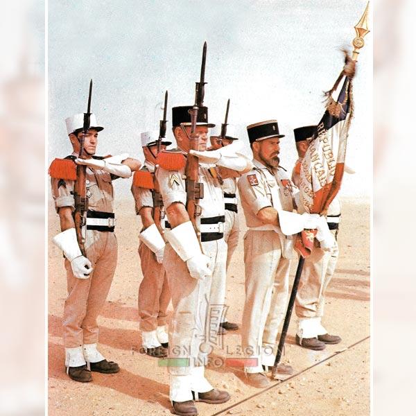 Color guard - Flag - 4e REI - 4 REI - 4th REI - 4th Foreign Infantry Regiment - Foreign Legion - Algeria - 1964
