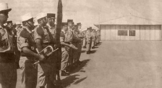 3rd Motorized Company - 3e Compagnie portée - 3e CP - of 4e REI celebrating Camerone Day in In Amenas 1963