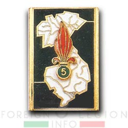 5e REI - 5 REI - 5th Foreign Infantry Regiment - 5th REI - Foreign Legion Etrangere - 1954 - Insignia - French Indochina