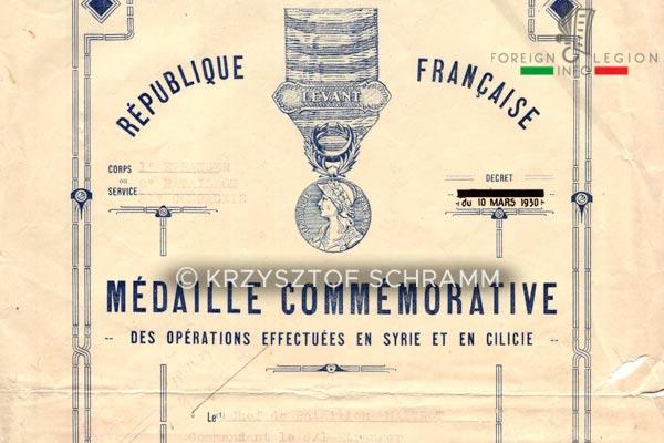 1er REI - 1 REI - Foreign Legion - 1934 - 8th Battalion - Decree - Commemorative Medal - Levant