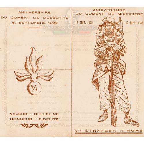 1er REI - 1 REI - Legion Etrangere - 1933 - 4e Bataillon - Carte d'invitation - Levant