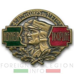 1er REI - 1 REI - Legion Etrangere - 1937 - 4e Bataillon - 4 BFC - Insigne - Levant