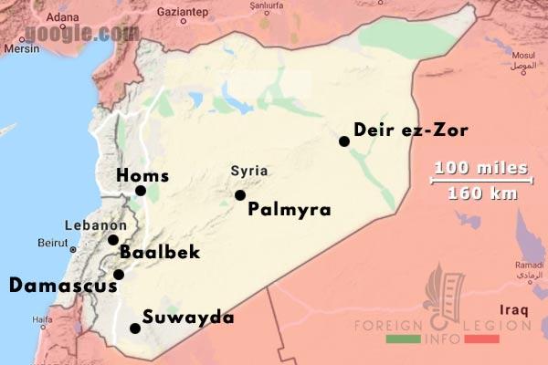 6e REI - 6 REI - Foreign Legion - Military bases - 1939 - Syria - Lebanon - Map