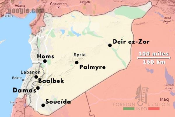 6e REI - 6 REI - Legion Etrangere - Postes militaires - 1939 - Syrie - Liban - Map