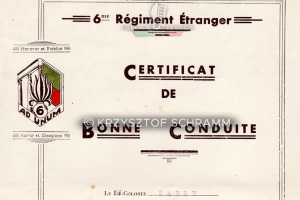 6e REI - 6 REI - Legion Etrangere - Certificat de bonne conduite - 1941 - Detail