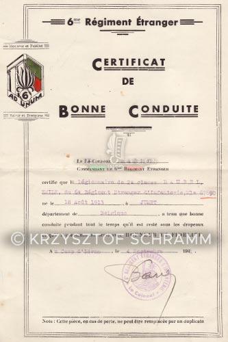 6e REI - 6 REI - Legion Etrangere - Certificat de bonne conduite - 1941