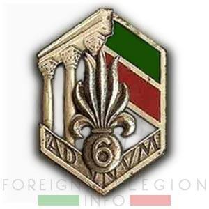 6e REI - 6 REI - Legion Etrangere - 1949 - Insigne - Tunisie