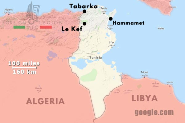 6e REI - 6 REI - Legion Etrangere - 1949 - Tunisie - Postes - Map
