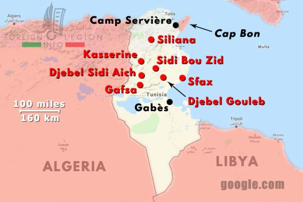 6e REI - 6 REI - Foreign Legion - Legion Etrangere - late 1954 - Tunisia - Operations - Map