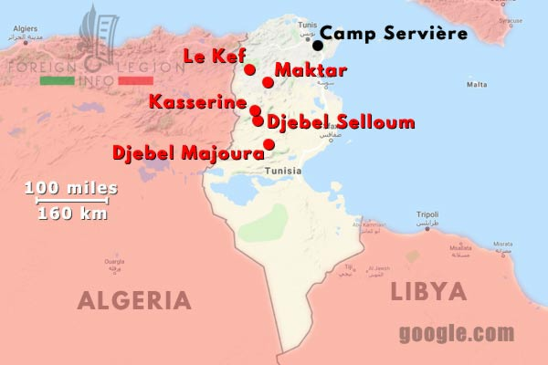 6e REI - 6 REI - Legion Etrangere - 1954 - Tunisie - Operations - Map