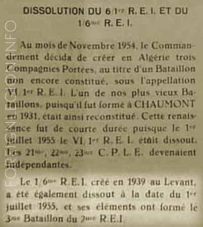 6e REI - 1/6rei - dissolution 1955