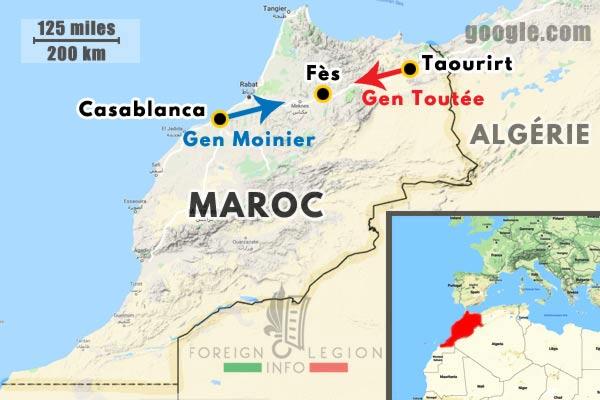 Maroc - Casablanca - Fes - Taourirt - Colonnes - General Moinier - General Toutée - 1911 - carte