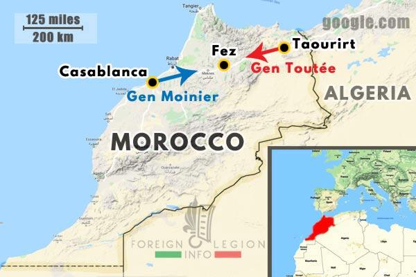 Morocco - Casablanca - Fez - Taourirt - Columns - General Moinier - General Toutée - 1911 - map
