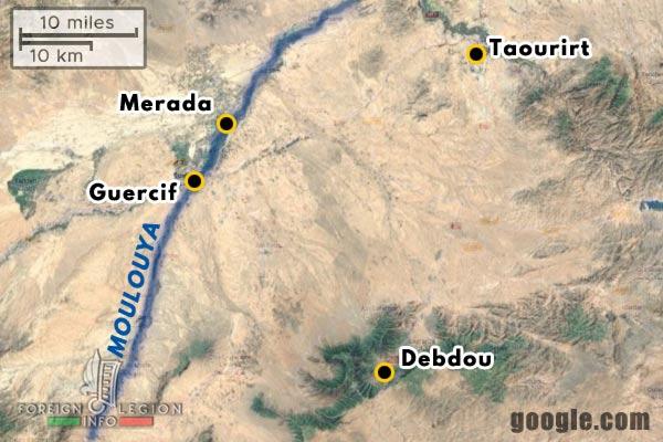 Morocco - Taourirt - Merada - Guercif - Debdou - Moulouya - 1911 - map