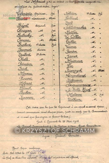 1st Foreign Regiment - Foreign Legion - 6th Battalion - 22nd Company - Battle of Alouana - Names of the dead and wounded - 1911