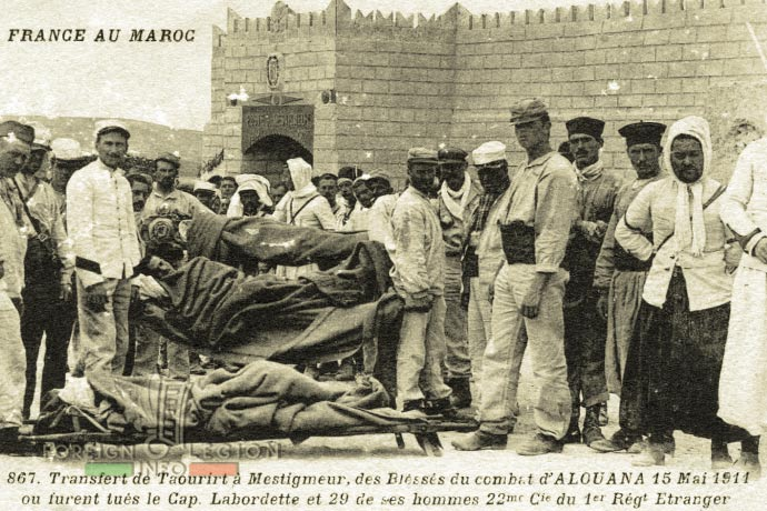 1st Foreign Regiment - Foreign Legion - 6th Battalion - 22nd Company - Battle of Alouana - wounded - Morocco - Alouana