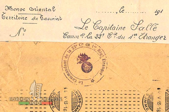 1st Foreign Regiment - Foreign Legion - 6th Battalion - 22nd Company - stamp - Morocco