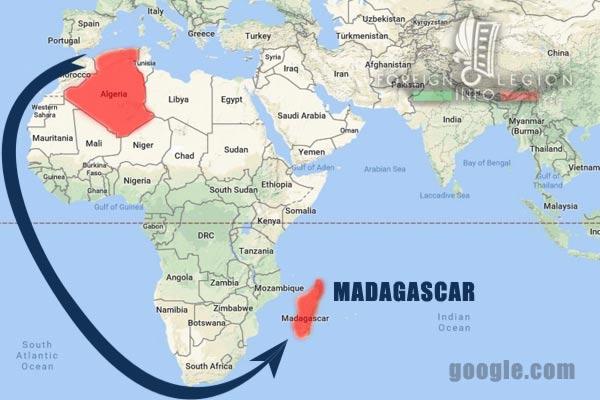 DLEM - Foreign Legion Madagascar Detachment - Foreign Legion Etrangere - 1956 - Madagascar - Deployment - Map