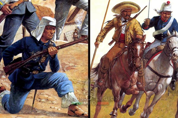 French intervention in Mexico - Liberal troops - Mexican Cavalry - Mexican Infantry