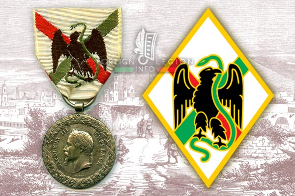 Mexico - Mexican Campaign - Medal - Foreign Legion - 1st Foreign Regiment - Insignia - Badge
