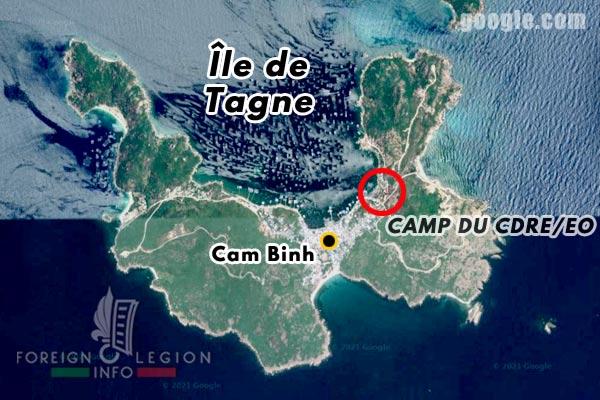 Vietnam - baie de Cam Ranh - île de Tagne - Légion étrangère - Compagnie de Discipline des Régiments Etrangers en Extrême-Orient - CDRE/EO - camp - position