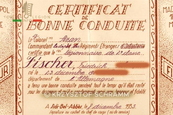 Foreign Legion - Algeria - Good behavior Certificate - Detail - 1933