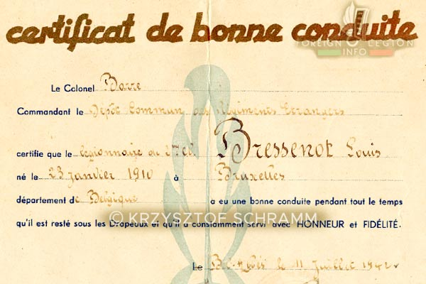 Foreign Legion - Algeria - Good behavior Certificate - Detail - 1942