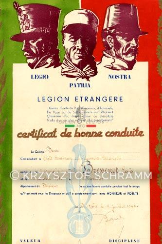 Legion Etrangere - Certificat de bonne conduite - 1942