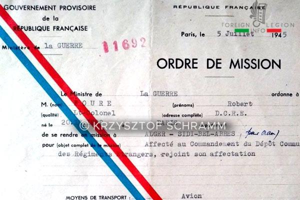 DCRE - Depot Commun - Legion Etrangere - Ordre de mission - Lt-colonel Foure - 1945