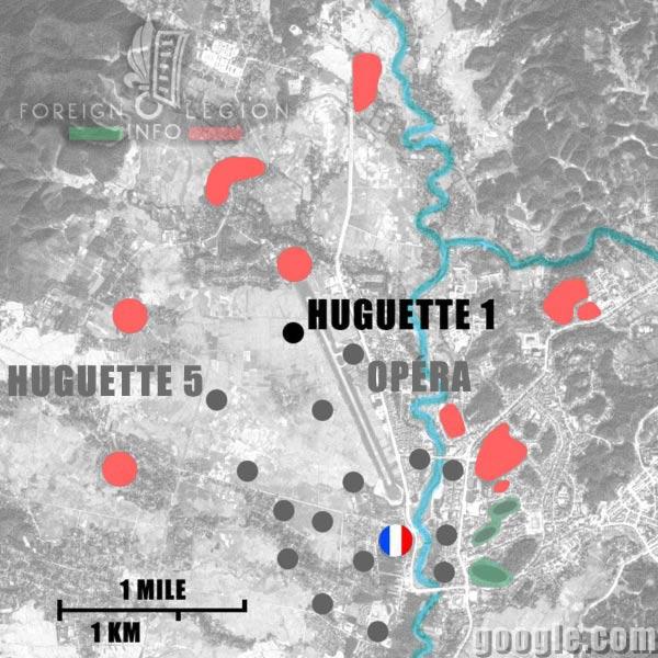 Dien Bien Phu - Huguette 1 - Map - 1954 - First Indochina War