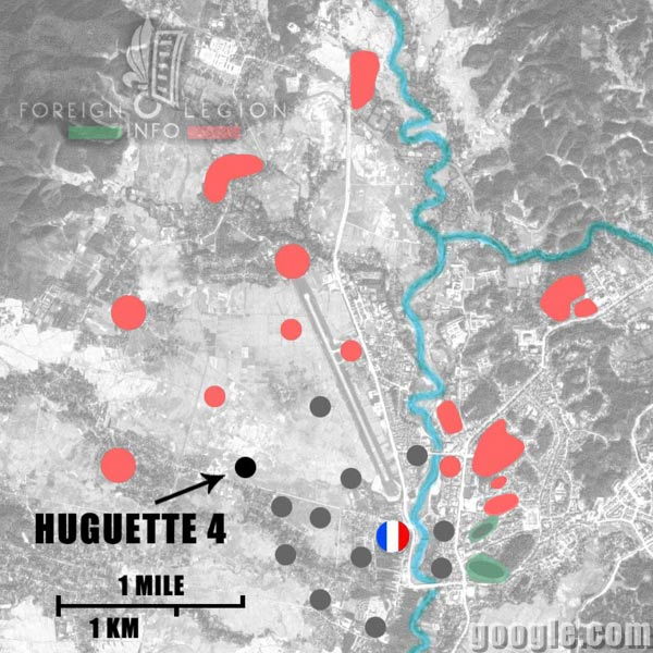 Dien Bien Phu - Huguette 4 - Map - 1954 - First Indochina War