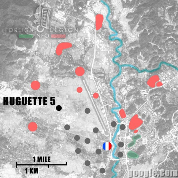 Dien Bien Phu - Huguette 5 - Map - 1954 - First Indochina War