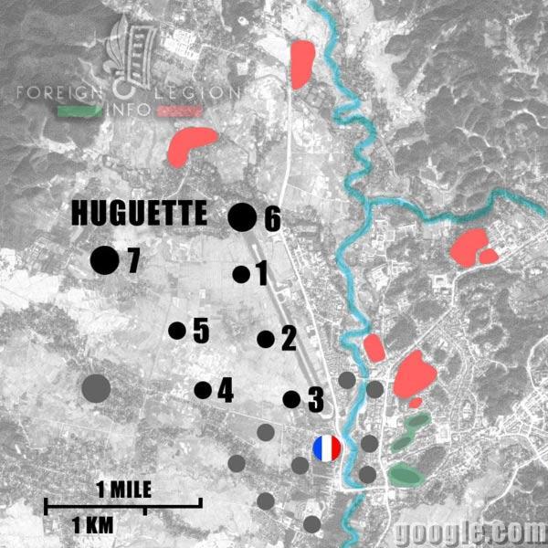 Dien Bien Phu - Huguette - Map - 1954 - First Indochina War