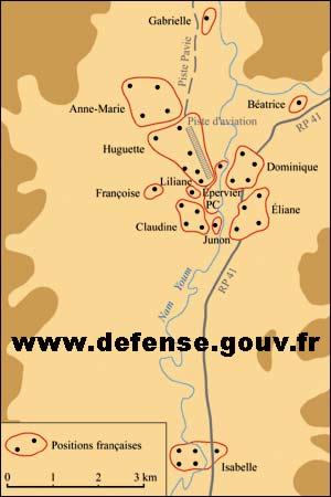 Dien Bien Phu - Indochina - First Indochina War - defensive positions - Anne-Marie - Beatrice - Huguette - Isabelle - map - 1954
