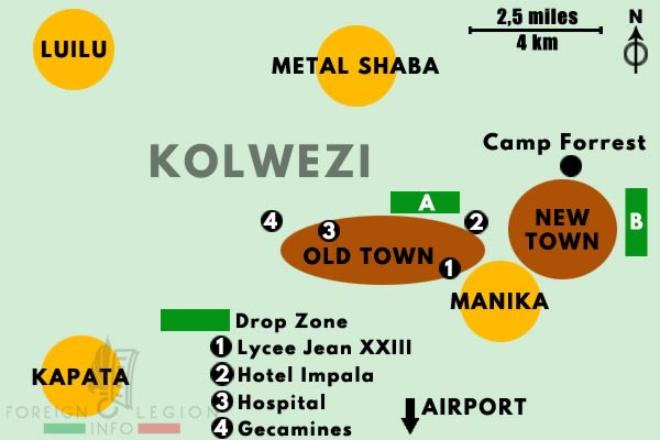 2 REP - Battle of Kolwezi - 1978 - Kolwezi - Map