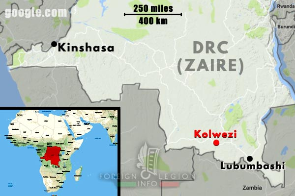 2 REP - Battle of Kolwezi - 1978 - Zaire - Kolwezi - Map