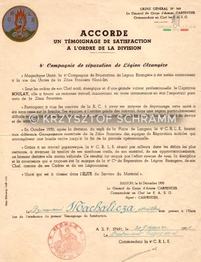 4e CRLE - 4 CRLE - Repair Company - 1951 - Temoignage - Satisfaction