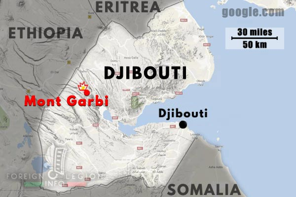 2e REP - 2 REP - Djibouti - Mont Garbi - Accident - 1982 - Map