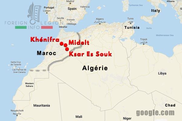 Compagnies Montées - Légion étrangère - Maroc - 1940-44 - Postes - Map