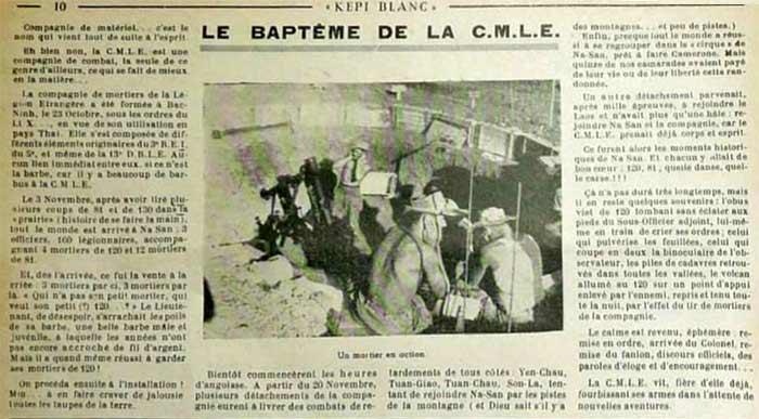 CMLE - Foreign Legion Mortar Company - Compagnie de Mortiers de la Légion Etrangère - Képi blanc magazine 1953