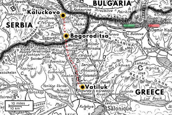 Foreign Legion - Battalion - Balkans - Map - Kaluckovo - Bogoroditsa - Vatiluk - 1915