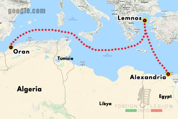 Foreign Legion - Battalion - Map - Algeria - Egypt - Lemnos - Dardanelles