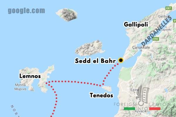 Foreign Legion - Battalion - Balkans - Map - Tenedos - Gallipoli - Dardanelles - Sedd el Bahr