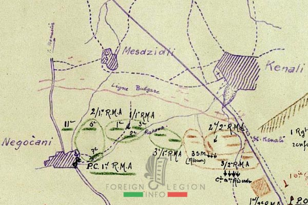 Foreign Legion - Battalion - Balkans - 1 RMA - Negocani - Medzidli - Kenali - positions - 1916