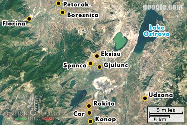 Foreign Legion - Battalion - Balkans - Map - Udzana - Konop - Cor - Rakita - Gjulunc - Spanca - Eksisu - Boresnica - Petorak - Florina - 1916