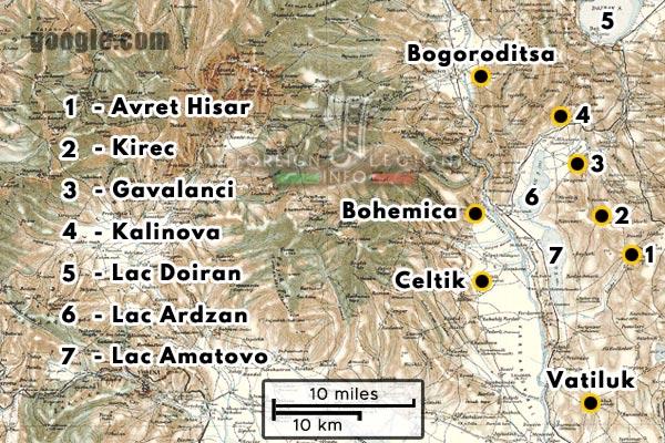 Bataillon de Légion - Orient - Legion Etrangere - Carte - Vatiluk - Lac Amatovo - Lac Ardzan - Kalinova - Celtik - 1916